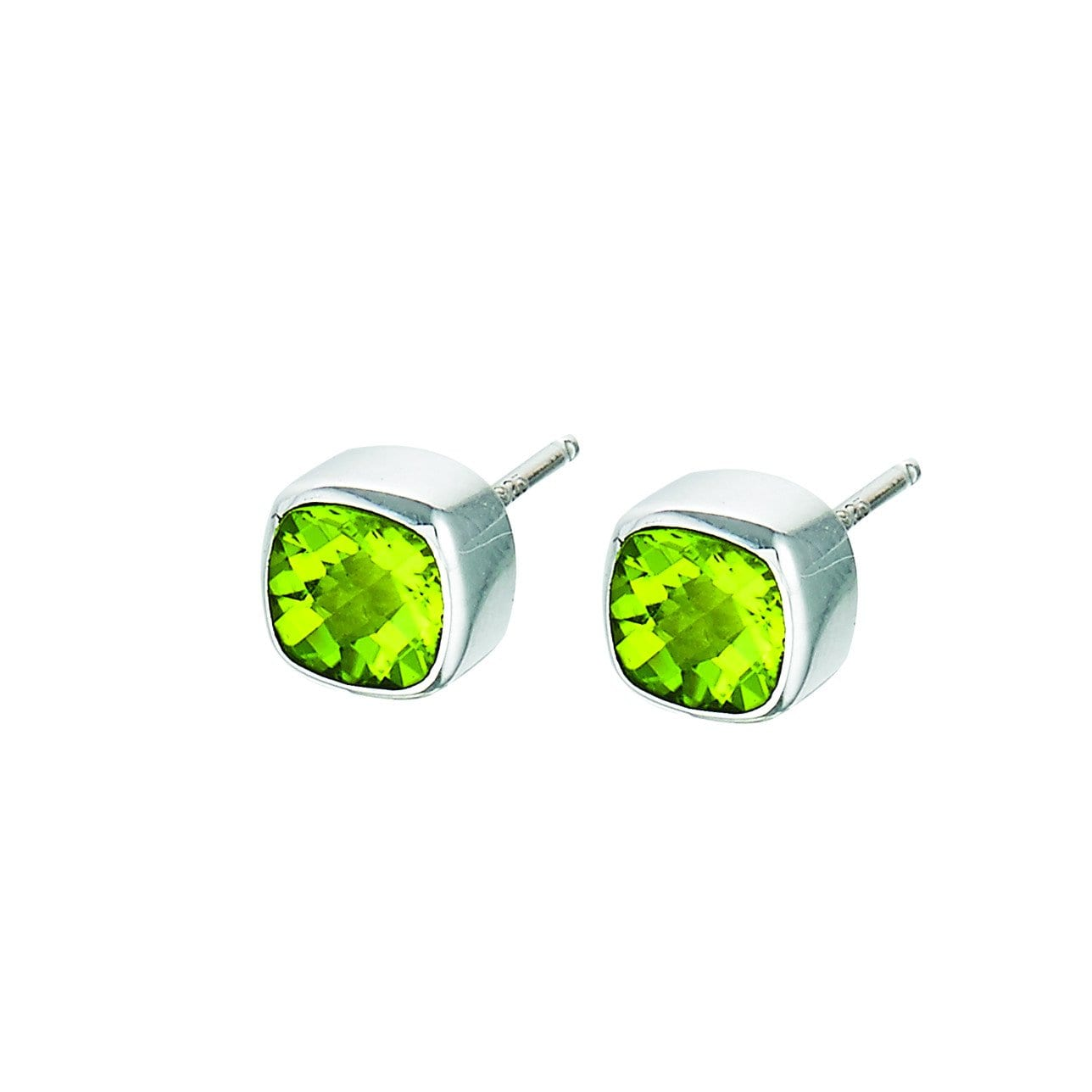 Sku 21567 Categories Collections Plata Sterling Silver Earrings Tags 6mm Bezel Set Cushion Cut Peridot Ss
