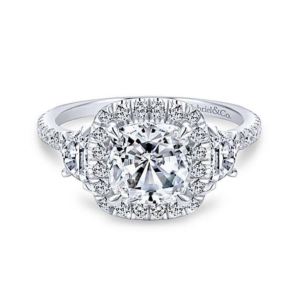14kt Cushion Shape Halo Diamond Engagement Ring