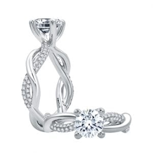 18kt White Gold .36ctw Diamond Crossover Engagement Ring