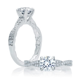 18kt White Gold .19ctw Diamond Crossover Quilted Engagement Ring