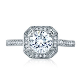 14kt .23ctw Round & Baguette Diamond Halo Engagement Ring