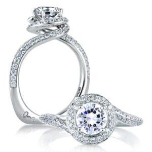 18kt .50ctw Diamond Spiral Halo Euro Shank Engagement Ring