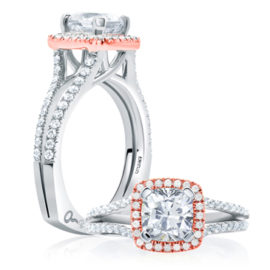 18kt Rose & White Gold .38ctw Diamond Cushion Shape Halo Engagement Ring