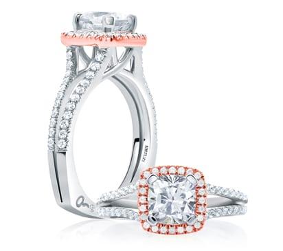 18kt Rose & White Gold .38ctw Diamond Cushion Shape Halo Engagement Ring