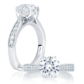 18kt White Gold .24ctw Diamond Deco Engagement Ring
