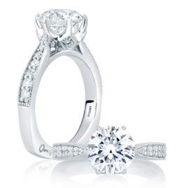 18kt White Gold .24ctw Diamond Deco Engagement Ring