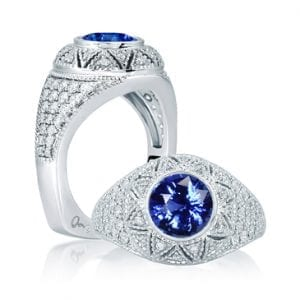 18kt White Gold .53ctw Diamond Vintage Style Engagement Ring