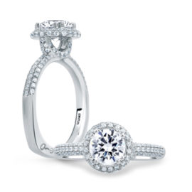 14kt Pave Set .52ctw Diamond Round Cut Halo Engagement Ring