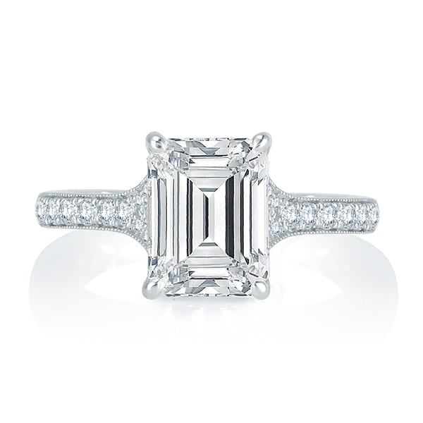 channel gabriel diamond gold emerald cut setting white engagement with rings halo ring