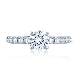 14kt White Gold .64ctw Diamond Shared Prong Engagement Ring