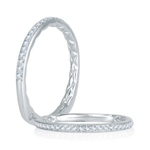 14kt .13ctw Diamond Quilted Euro Shank Wedding Band