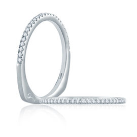 14kt White Gold .13ctw Euro Shank Diamond Wedding Band