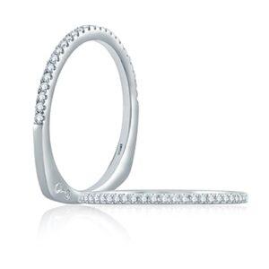 14kt White Gold .13ctw Euro Shank Diamond Wedding Band