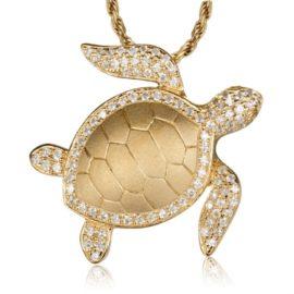 14kt Yellow Gold .47ctw Diamond Sea Turtle Pendant