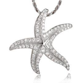 14kt white gold .58ctw diamond starfish slide pendant
