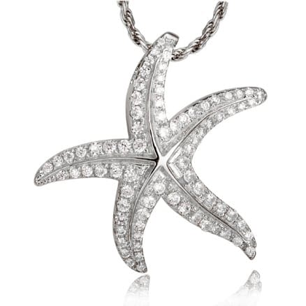 14kt white gold .58ctw diamond starfish slide pendant