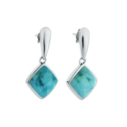 sterling silver diamond shape larimar gemstone dangle earrings