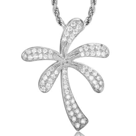 14kt white gold pave set .38ctw diamond palm tree pendant