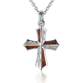 sterling silver engraved hawaiian koa wood cross pendant