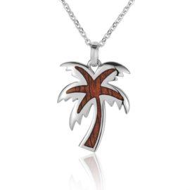 sterling silver hawaiian koa wood palm tree pendant