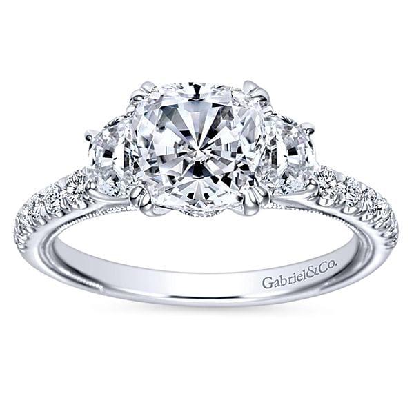 14kt Cushion Cut 3 Stones Milgrain Diamond Engagement Ring