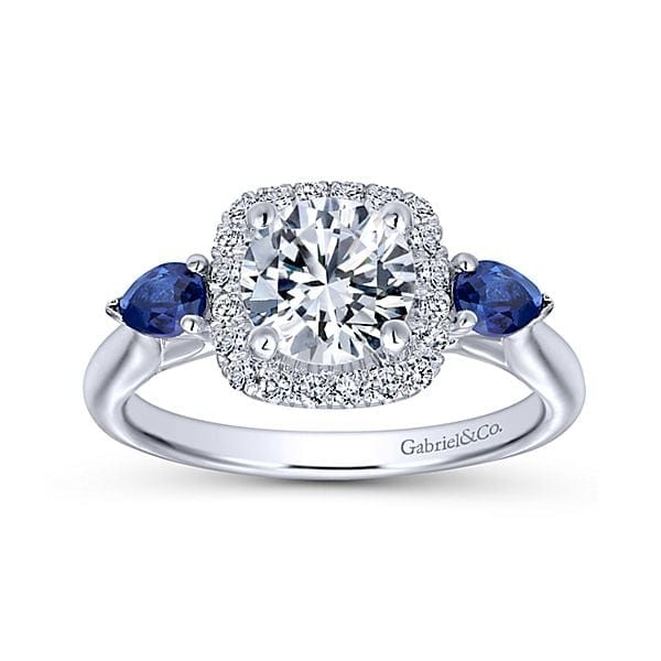122271eaa0d4d0 14kt Diamond Halo & Blue Sapphire 3 Stone Engagement Ring – Jupiter ...
