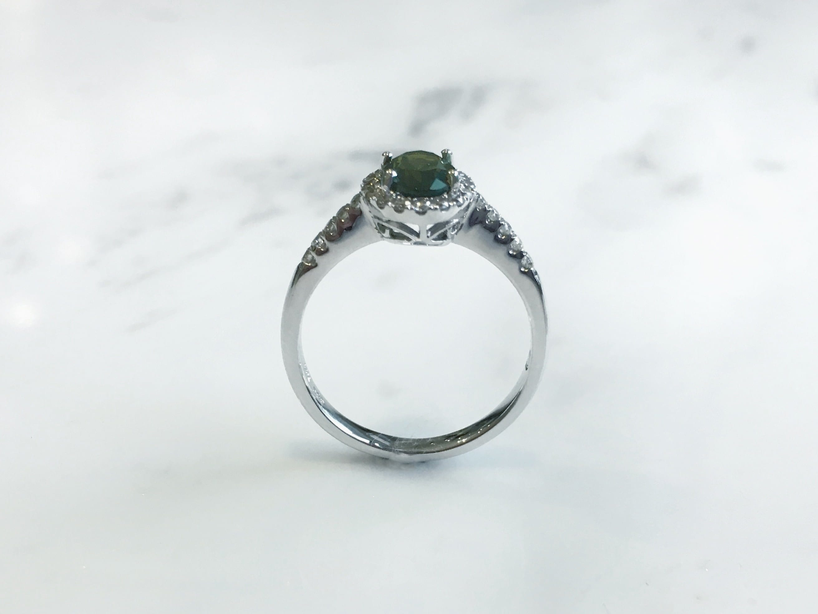 ring in uneek rings emerald pave and shank center three cut silhouette platinum stone gemstone with green