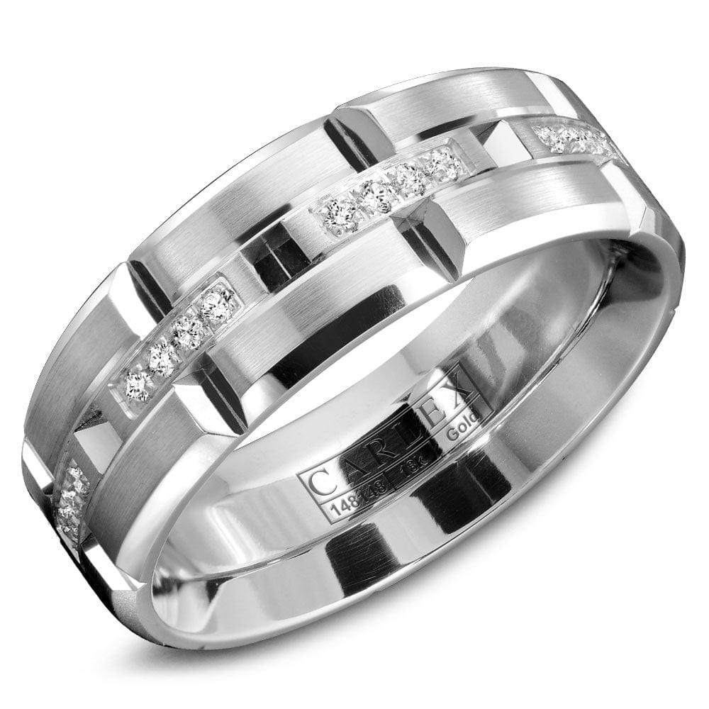 Mens Wedding Band.18kt 7 5mm Diamond Mens Wedding Band