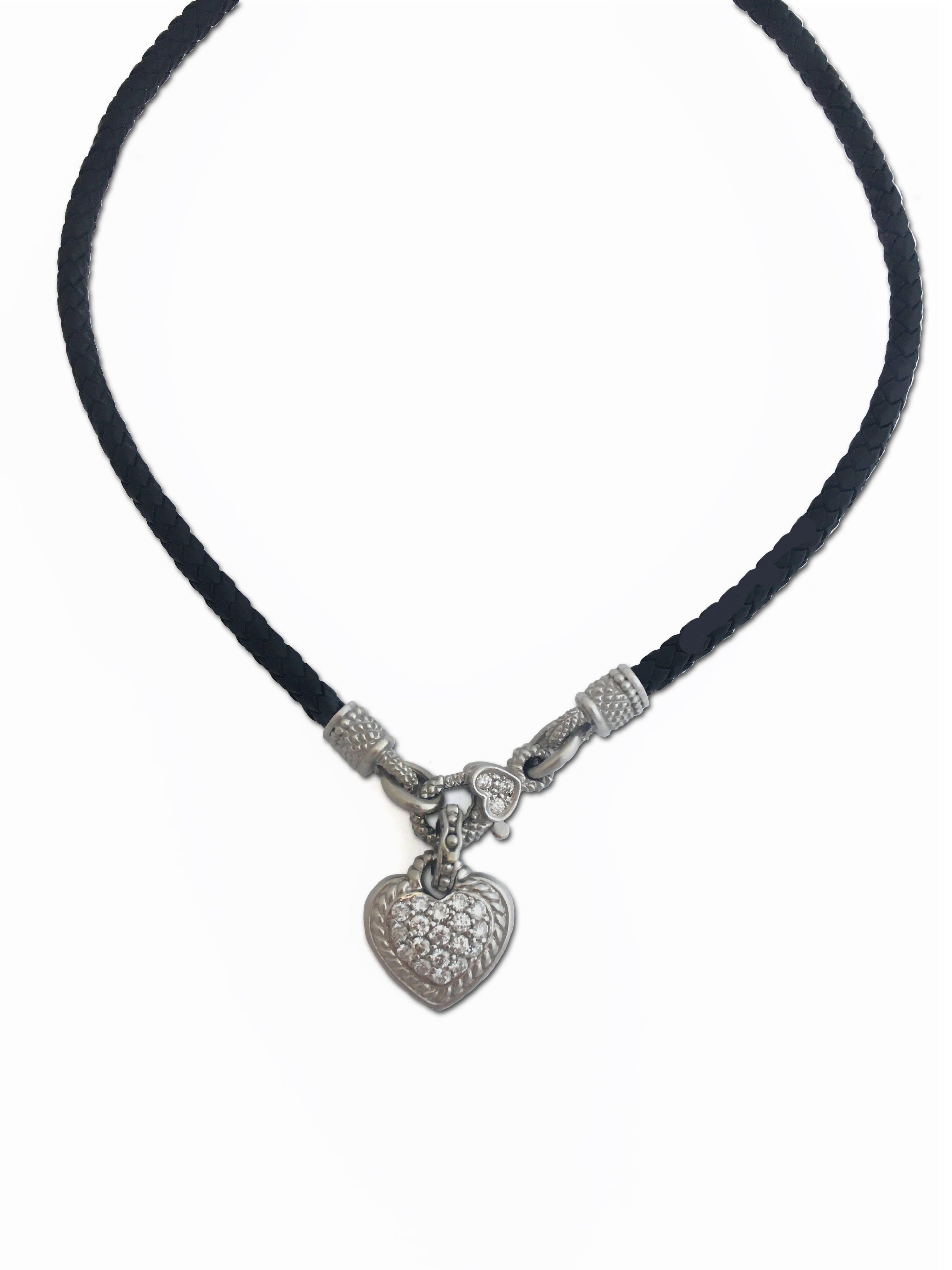 8d4e5619a32 Estate 18kt Designer Judith Ripka Diamond Heart Enhancer