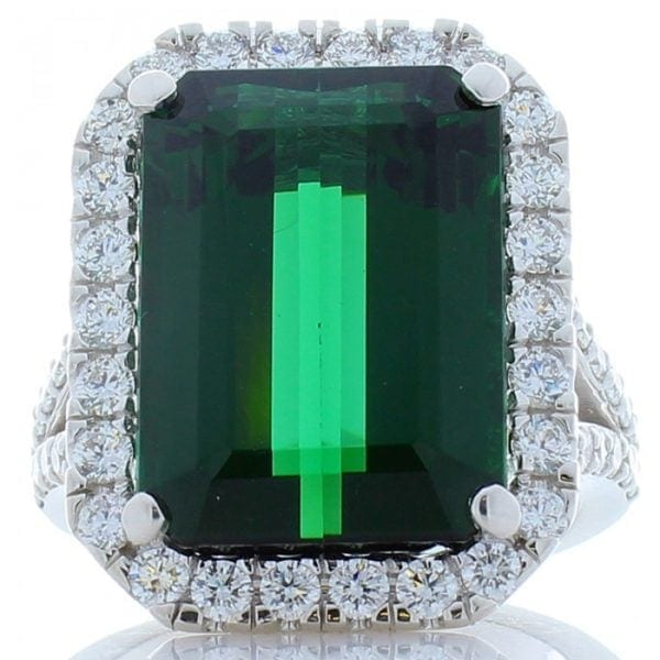 18kt White Gold Emerald Cut Green Tourmaline 11.61ct & Round Brilliant Cut D1.25ctw Diamond Halo Ring
