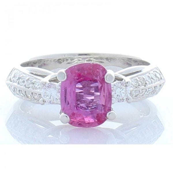 18kt White Gold Oval Pink Sapphire 1.57ctw & Round Brilliant Cut Diamond .45ctw Ring
