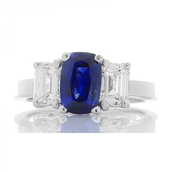 Platinum Ceylon Blue Sapphire 1.52ct & Emerald Cut Diamond 1.32ctw 3 Stone Ring