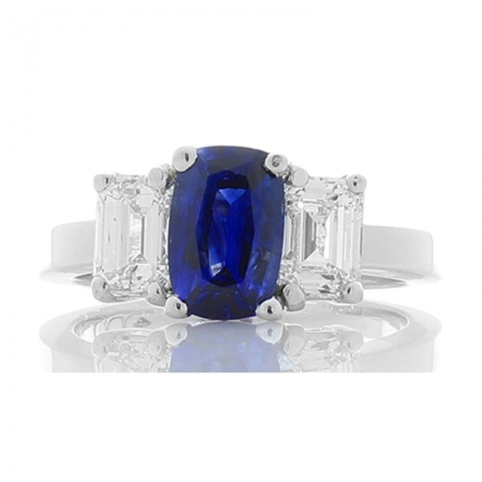 Platinum Ceylon Blue Sapphire 1.52ct & Emerald Cut Diamond 1.32ctw 3 Stone Ring