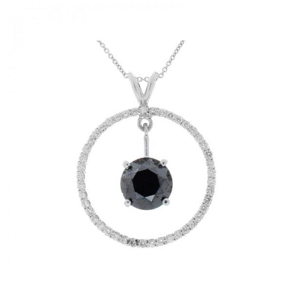 14kt White Gold Round Black Diamond 3.87ct & Round Brilliant Cut Diamond .67ctw Circle Pendant