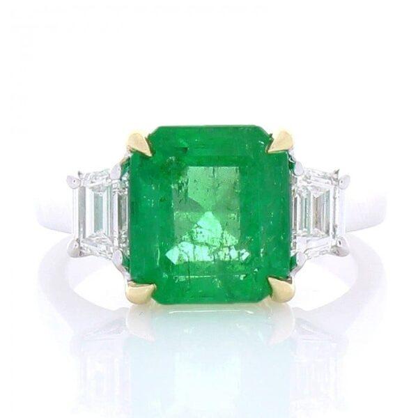 18kt White & Yellow Gold Emerald 3.76ct & Trapazoid Diamond .80ctw 3 Stone Ring