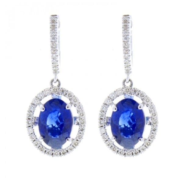 14kt White Gold Oval Blue Sapphires 4.0ctw & Round Brilliant Cut Diamond .57ctw Dangle Earrings