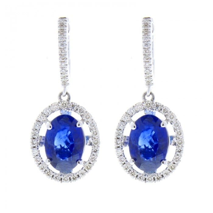 earrings gemstone silverware drop p newbridge and with clear asp blue stones