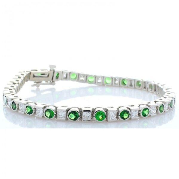 14kt White Gold Round Bezel Set Green Tsavorite 3.20ctw & Half Bezel Set Princess Cut Diamond Bracelet