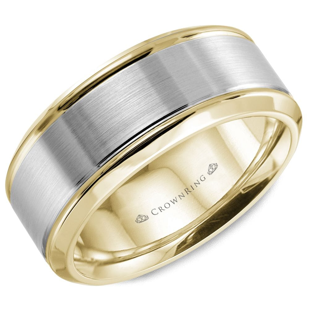 Sku 7295 Categories Collections Crown Ring Mens Wedding Band Bands Tags 8mm Brushed Center Polished Edges Two Tone