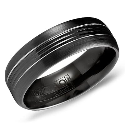 Sku 7388 Categories Collections Crown Ring Mens Wedding Band Bands Tags 7mm Black White Cobalt Gents
