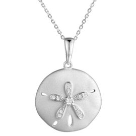 Sterling Silver Cubic Zirconia Sand Dollar Pendant