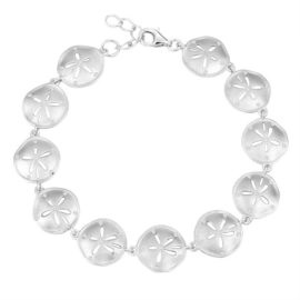 Sterling Silver Brushed Texture Cubic Zirconia Sand Dollar Bracelet