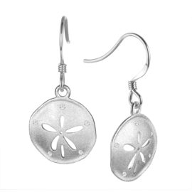 14kt White Gold .07ctw Diamond Brushed Texture Sand Dollar Dangle Earrings