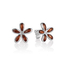 Sterling Silver & Hawaiian Koa Wood Plumeria Earrings