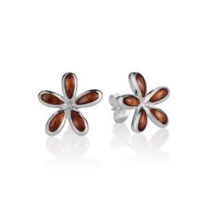 Sterling Silver & Hawaiian Koa Wood Plumeria Earrings