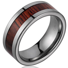 8mm Tungsten Cocobolo Wood Ring