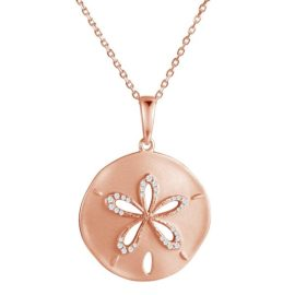 14kt rose gold .15ctw diamond brushed texture sand dollar pendant