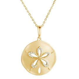 14kt yellow gold .15ctw diamond brushed finish sand dollar pendant
