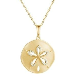 14kt yellow gold .15ctw diamond brushed finish sand dollar pendant