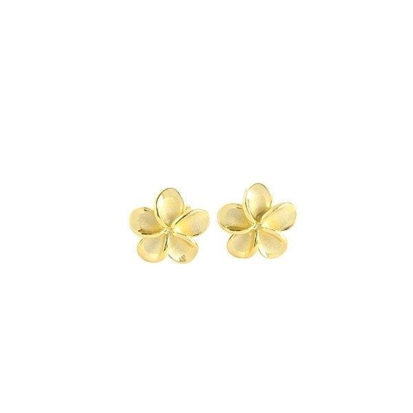 14kt yellow gold 10mm plumeria flower stud earrings